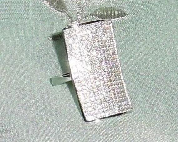 GENUINE AAA White Round Diamonds, 14kt White Gold Ring Size 7
