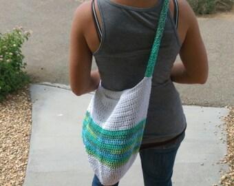 Crochet Market Bag - White, Blue, and Green