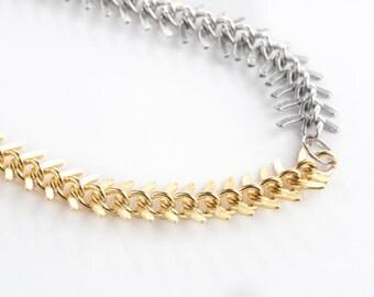 Gold/Antique Silver Fishbone Statement Necklace-Statement Necklace, Gold Necklace, Chunky Necklace, Fishbone