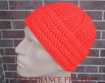 CLEARANCE PRICED - Blaze Orange Beanie - Mens Hunting Hat - Crocheted - Soft Acrylic Yarn - Handmade - Warm Cap - Size M/L - Ready to Ship