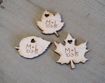 Wood Leaf Wedding Favors Personalized Set of 20 Wood Leaves