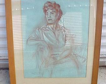 Vintage Greer Garson Cyrus LeRoy Baldridge 1963 Pastel Painting Drawing signed