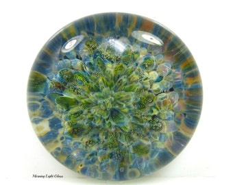 Ventana Canyon Glass Cabochon Bead - Large Round Focal - Lampwork Frit Implosion