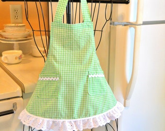 Toddler Little Girls Lime Green Gingham Apron MADE TO ORDER