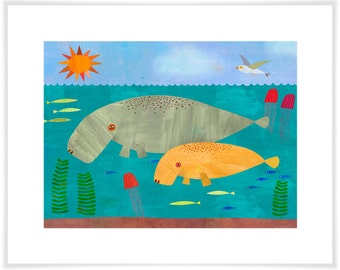 Manatees Mama and Baby // Paper Art Print // Ocean Theme