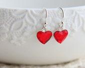 SALE, Heart Earrings, Crystal Earrings, Red Heart Earrings, Swarovski Earrings, Dangle Earrings, Sterling Silver Earrings, Tiny Earrings