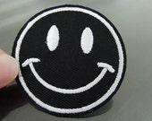 Iron on Patch - Smile Face Patches Black and White patch Iron on Applique embroidered patch Sew On Patch