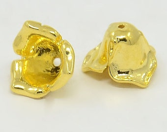 NEW Brass Flower Bead Caps, Golden in 8 MM  (10)  (GBCF1114)