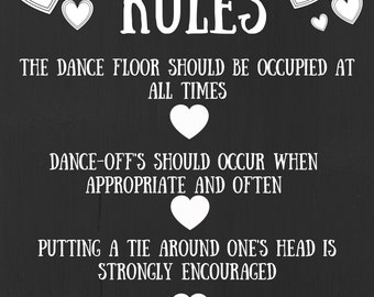 Dance Floor Rules, Wedding/Party Funny Sign