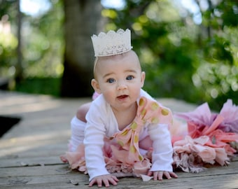 Baby Girl 1/2 Half Birthday Outfit. Personalized Set up to 4 Items 1/2 & Bow Bodysuit, Bloomers Diaper Cover, Leg Warmers, Headband or Crown