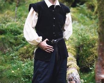 Men Vest Renaissance-Style velveteen overcoat - Steampunk Pirate Fantasy Medieval Renaissance Costume Cosplay