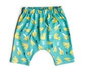 Tropical Bananas Harem Shorts Organic Cotton Unisex Turquoise