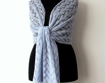 pale blue alpaca silk lace shawl, bridal cover up, elegant handknit wrap