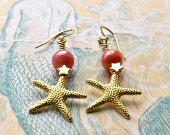 Starfish Earrings, Summer Jewellery, Pink Coral Shell, Beach Jewellery, Gold Starfish, Mermaid Jewellery, Gift for Her, UK Earrings