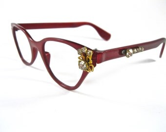 Tura cat eye glasses. Red with rhinestones. Unique ornate aluminum frames 1960s.