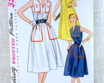 Vintage Sewing Pattern Simplicity 4332 housecoat trompe l'oiel faux pockets 1950s Lucille Ball New Look Bust 32 trapeze tent dress