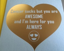 Cancer Sucks but you are awesome Emoji card • Gold Foiled A2 Greeting Card in blue