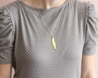 Gold tone single metal feather necklace, gold plate chain, boho jewelry, On the Wind