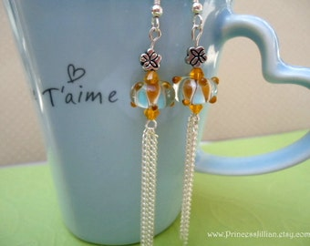 Beaded Earrings - Bohemian Tassels - Lampwork blue and brown fringe long chain with crystals jewelry