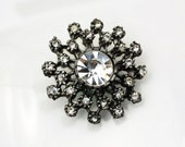 Stunning Vintage Ornate Rhinestone Button Set, 32mm, Self Shank, 2pc/set