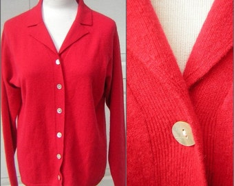 Red Cashmere Sweater Vintage Cardigan 2 Ply 100% Pure CASHMERE Large - Soft & Warm CLEARANCE
