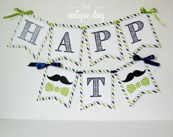 INSTANT DOWNLOAD Little Man Birthday Banner - mustache banner- Printable Happy Birthday Banner - Banner // MUST