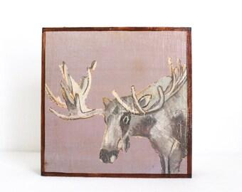 woodland nursery art, forest decor, moose art for a nursery- art block- kids room decor in gray- redtilestudio- wall art, animal print