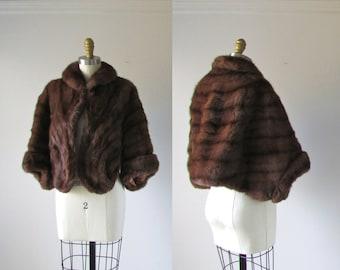 vintage fur / brown mink shrug