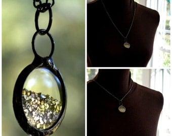 Shaker Necklace, German Glass Glitter, Wrist Watch Crystals, Glitter Moves, Shaker Jewelry, Floating Necklace, Gold Shaker Necklace (2476)