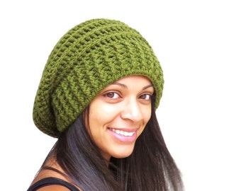 Crochet Slouchy Hat, Tam Hat, Ribbed Hat, Beehive Hat, Crochet Hat, Color is Olive