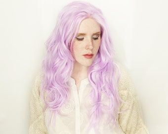 SALE Pastel Purple Lace Front Wig   Spring Fashion   Long Purple Wig   Wavy Long Fairy Cosplay Straight Lace Front wig   Hyacinth