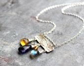 Multi Gemstone Necklace Slider Pendant Hammered Sterling Silver Iolite Citrine Labradorite