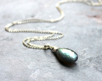 Labradorite Necklace Large Focal Stone, Sterling Silver Teardrop Faceted Blue Grey Gemstone Necklace