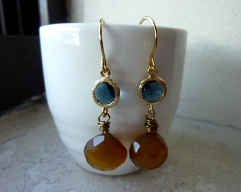 Bezeled Montana Glass Rounds with Faceted Caramel Chalcedony Briolette Earrings