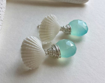 White Shell Studs, Aqua Gemstone Studs, Seashell Gemstone Earrings, Sea Shell Dangle Earrings, Aqua Beach Earrings, Mermaid Studs