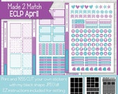 PRINTABLE April Planner Sticker Kit, Made 2 Match Erin Condren Life Planner, ECLP Stickers Purple/Blue - Instant Download