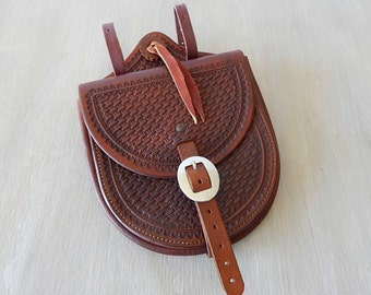 leather saddle bag  handcrafted tooled leather  rustic western leather accessory