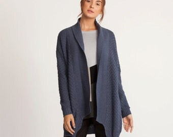 Blue winter cardigan, oversized open sweater, long sweater top, loose fit cardigan Sweater, long sleeves jacket, knitted winter coat