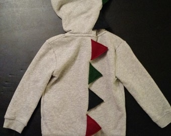 Gray Dinosaur Hoodie - With Navy Blue, Maroon, and Forest Green Spikes  - Sizes 3T and 4T Available