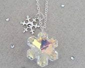 Rainbow Crystal AB Snowflake- Personalised Snowflake Necklace, Snowflake Jewelry, Winter Wedding, Christmas, Stocking Filler, Custom Jewelry