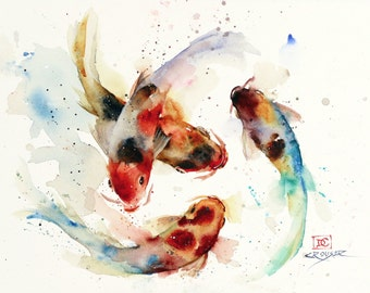 KOI SCHOOL Watercolor Fish Art, Koi Print, Koi Painting, Koi Art Print by Dean Crouser
