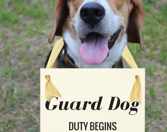"Guard Dog New Baby Sign ""Guard Dog Duty Begins"" Due In Month 