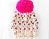 Oversized Pom Pom Hat / Baby Toddler Child Large Pom Beanie / Rainbow Tiny Hearts Pom Hat / Neon Pink Pompom Beanie / Baby Winter Hat