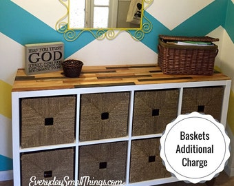 Storage Cabinet with Custom Wood Top