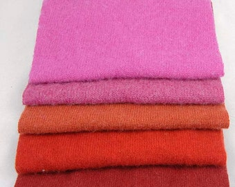 FELTED CASHMERE PIECES Reclaimed Sweater Scraps Lipstick Too Collection 1796