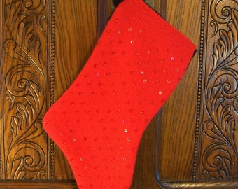 Christmas Stocking- Red with beading