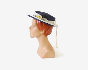 Vintage 50s Floral HAT / 1950s Navy Blue & White Small Boater with Bow and Flower