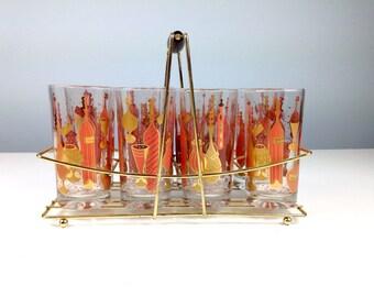 Vintage Drinking Glasses / Set of Eight with Holder / Hazel Ware 9 pc Caddy / Ice Tea Glass / Summer Patio Decor / Mod Barware / Mid Century