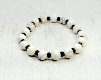 Howlite Bracelet - Stretch Bracelet - Stacking Bracelet - Bead Bracelet Gifts - Gifts For Girlfriend - Boho Bracelet