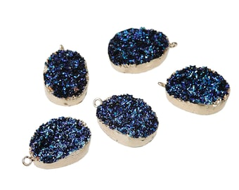 Deep Blue Resin Druzy Pendant Gold Plated Larger Size 35mm x 23mm - Z185